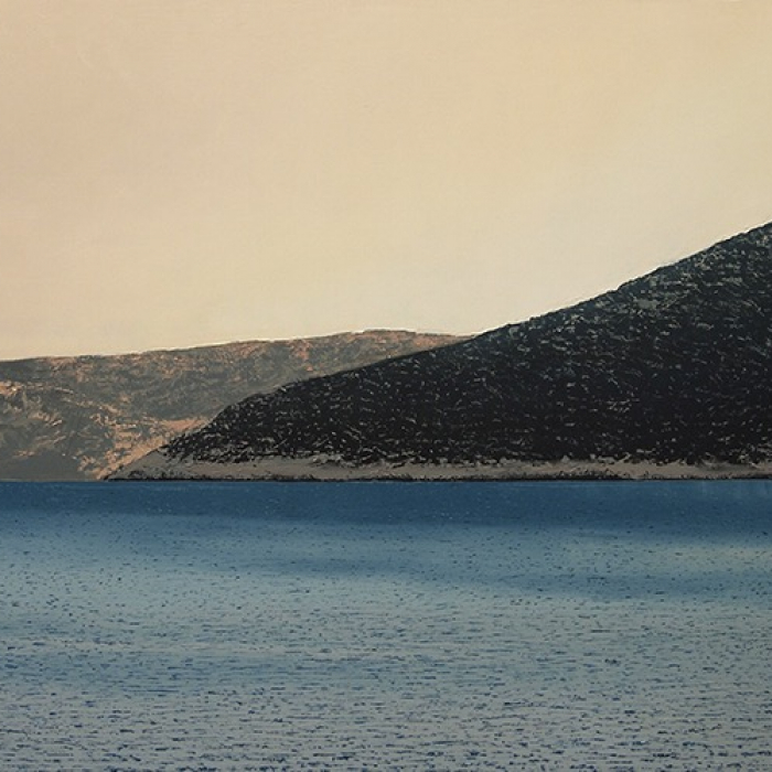 """Oil on canvas painting of a reflective sea with a rocky Greek isle in the distance by Benoît Trimborn titled """"Sifnos."""""""