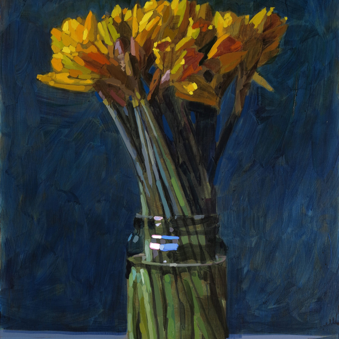 Oil on canvas still life painting of a vase of yellow flowers against a dark blue background by Hugo Galerie artist Laurent Dauptain.