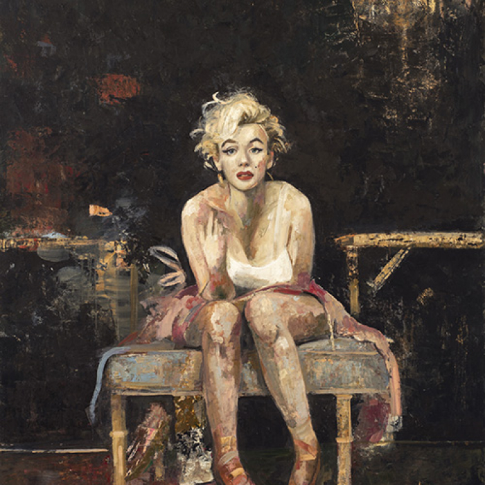 Oil and wax on canvas painting of Marilyn Monroe as a ballerina seated in a dance studio by Goxwa titled Marilyn in the Studio.
