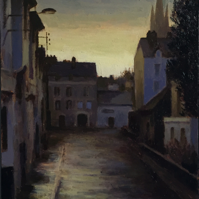 Oil on board painting of a residential street by Marc Chalmé titled The Hours II