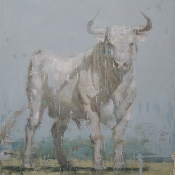 """Oil on canvas painting of a white bull by Joseph Adolphe titled """"Toro Blanco no. 2."""""""