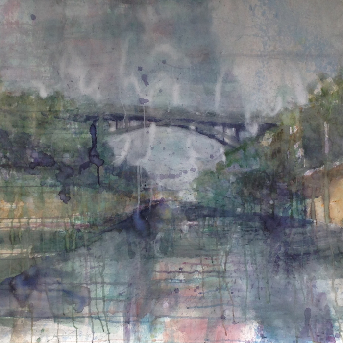 Watercolor on paper painting of a bridge crossing a river by Elizabeth Allison titled Route 80 East.