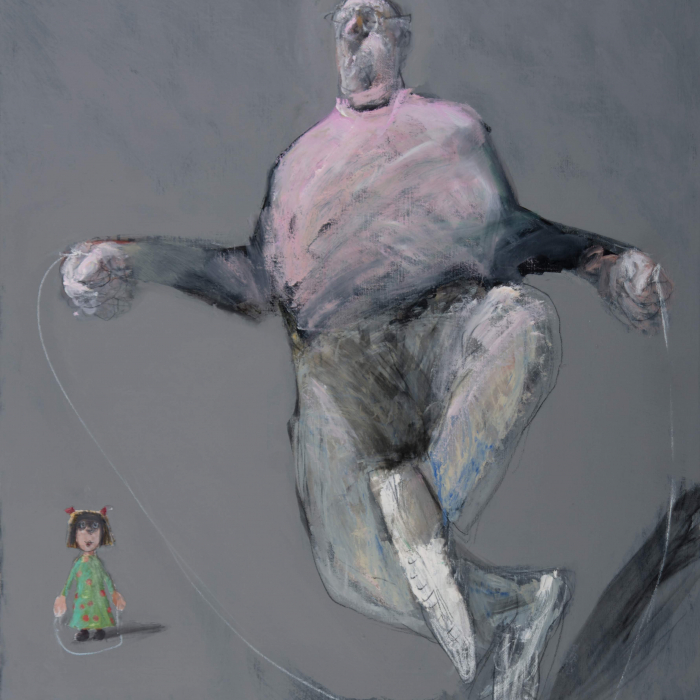 Mixed media on canvas painting of a large man awkwardly jumping rope against a grey background as a small child watches by François Anton titled Jumprope Technique.