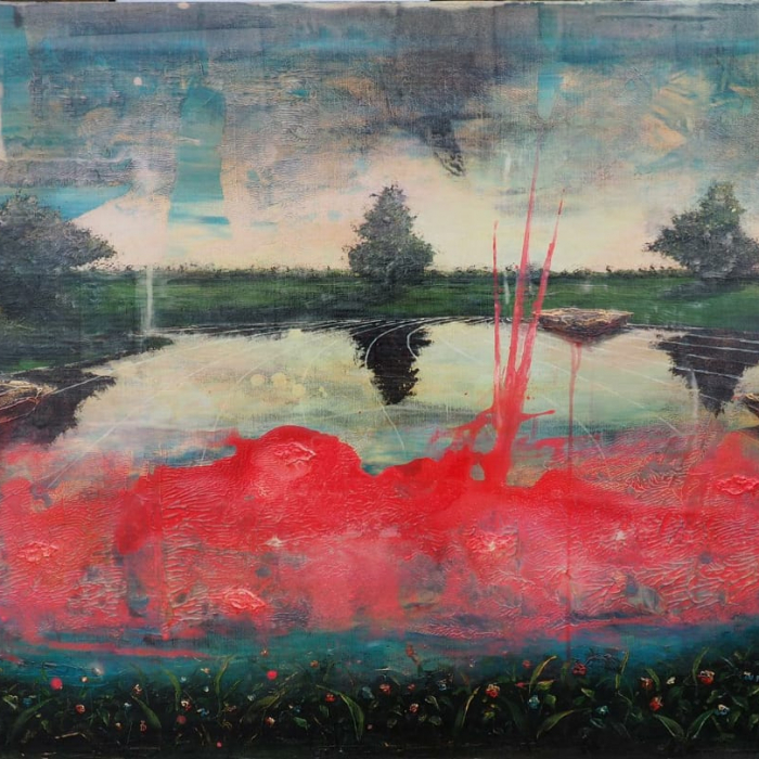 Acrylic and oil on canvas painting of trees across a lake with red paint smeared across it by Jernej Forbici titled Stain.