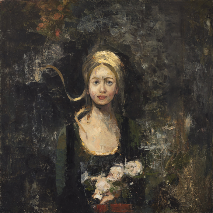 Oil and wax on canvas painting of a young woman holding flowers by Goxwa titled La Parfumeuse.