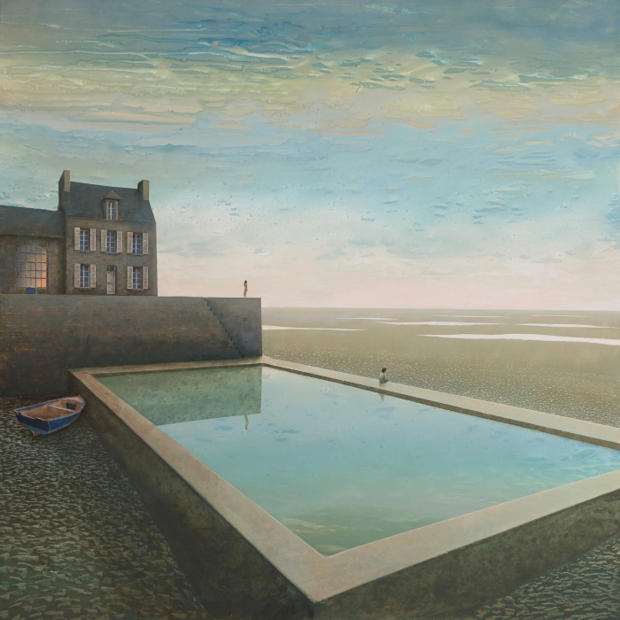 Oil on board painting of a reflection pool beside a lone house in a dry landscape with two individuals gazing at the horizon by Philippe Charles Jacquet titled Dans l'Attente.
