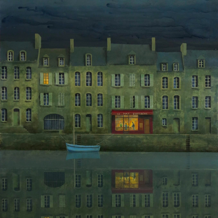 Oil on board painting of a blue rowboat moored for the night at a dock of row houses with one a storefront illuminated by Philippe Charles Jacquet titled Le Port d'Attache.