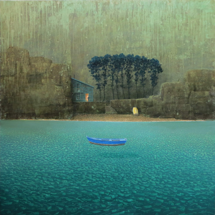 Oil on board painting of a blue rowboat afloat in a teal sea before a lone house with one lit window by Philippe Charles Jacquet titled Une Soirée Ordinaire.