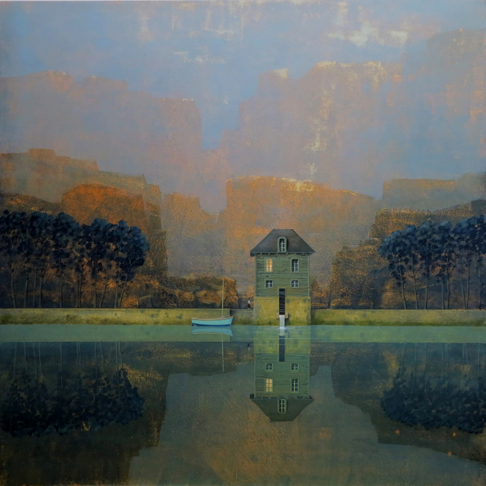 Oil on board painting of a lone house, rowboat, and their reflections on a lake at dawn titled Le Moulin à l'Aube by Philippe Charles Jacquet.