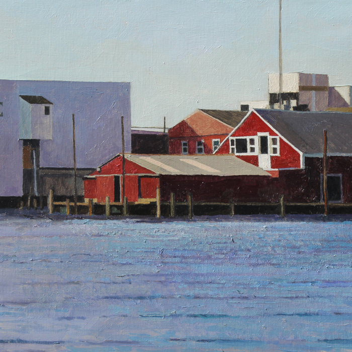 Oil on canvas painting of an ice factory and pier surrounding a red industrial structure with rippling water in the foreground by Xavier Rodés titled Ice Factory.
