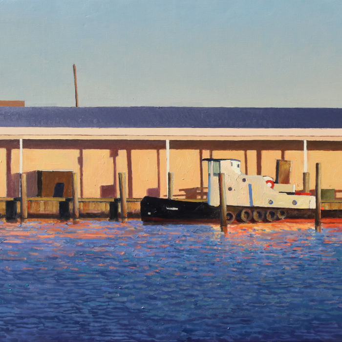 Oil on canvas painting of a tug boat moored at a pier amidst choppy and sun-reflecting water by Xavier Rodés titled Tug.