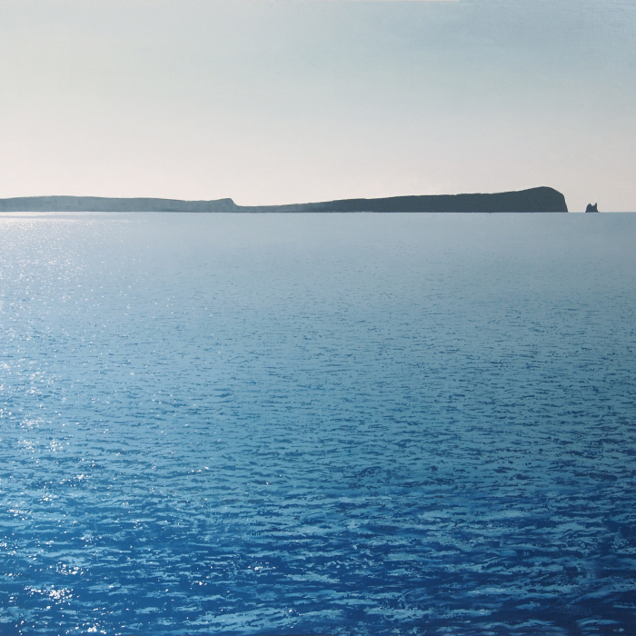 Oil on canvas painting of a brilliantly reflective sea with a rocky Greek island in the distance titled Antiparos by Benoît Trimborn.
