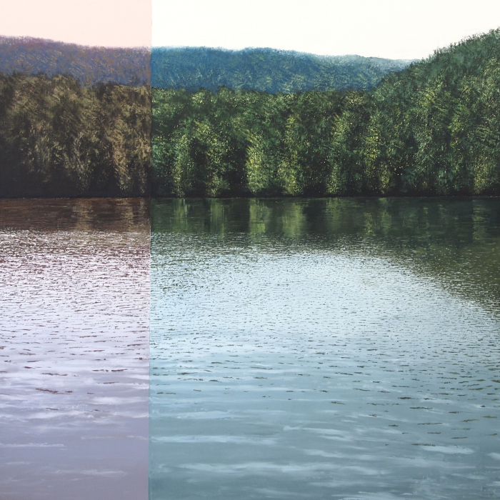 Oil on canvas painting of a forest and its reflection on a large lake with the added effect of a third of the work bathed in a pink/red light titled Grand Lac avec Modulation vers le Rouge by Benoît Trimborn.