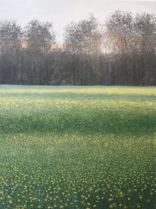 Oil on canvas painting of a forest seen across a meadow of blooming yellow flowers titled Les parfums tournent dans l'air du soir (Baudelaire) by Benoît Trimborn.