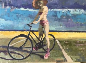 "Oil on linen painting of bathing suit-wearing woman on a bicycle in the sunshine by Brian Keith Stephens titled ""Because the Sky Is Blue."""