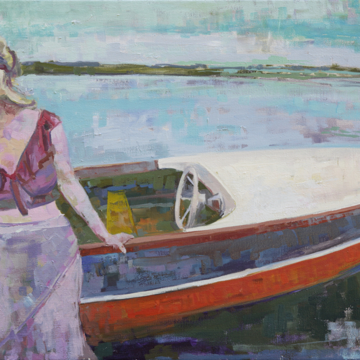 Oil on canvas painting of a blond woman standing beside a small motorboat in shallow water by Brian Keith Stephens titled It Is Not Going to Rain Today.