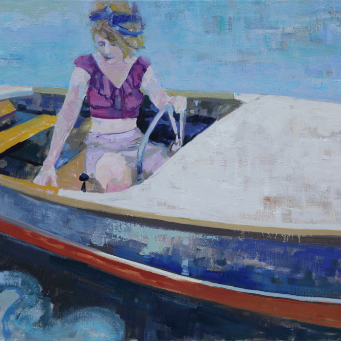 """Oil on canvas painting of a blond woman in a small motorboat by Brian Keith Stephens titled """"Waiting for That Sleepy Feeling."""""""