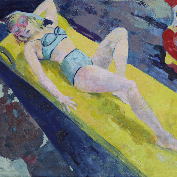 """Oil on canvas painting of a blond woman in a bikini reclined on a pool float by Brian Keith Stephens titled """"Well Well Well."""""""