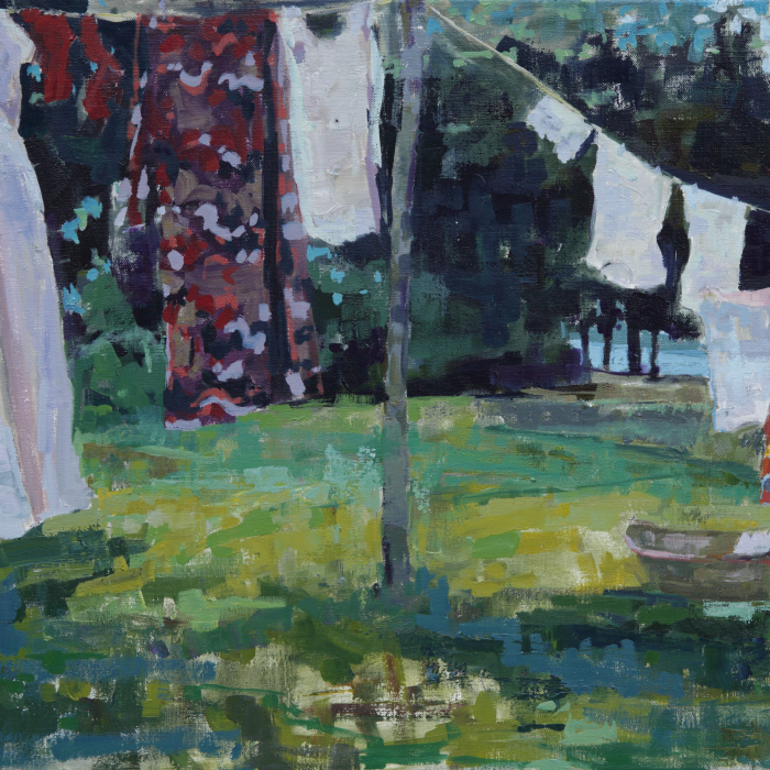 """Oil on canvas painting of a woman hanging laundry on a clothesline in a sunny backyard by Brian Keith Stephens titled """"Don't Forget to Buy Bread."""""""