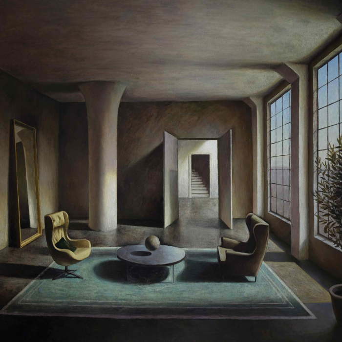 Oil on canvas painting of a mysterious room lit from a large window where two chairs face each other across a table above which a spherical object floats by Marc Chalmé titled Between Dreams.