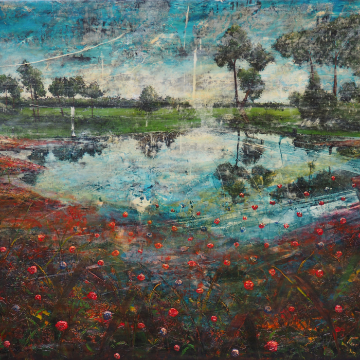 Acrylic and oil on canvas painting of a crystal blue lake surrounded by red flowers and trees, slashed with texture, by Jernej Forbici titled Lake with Red Mud.
