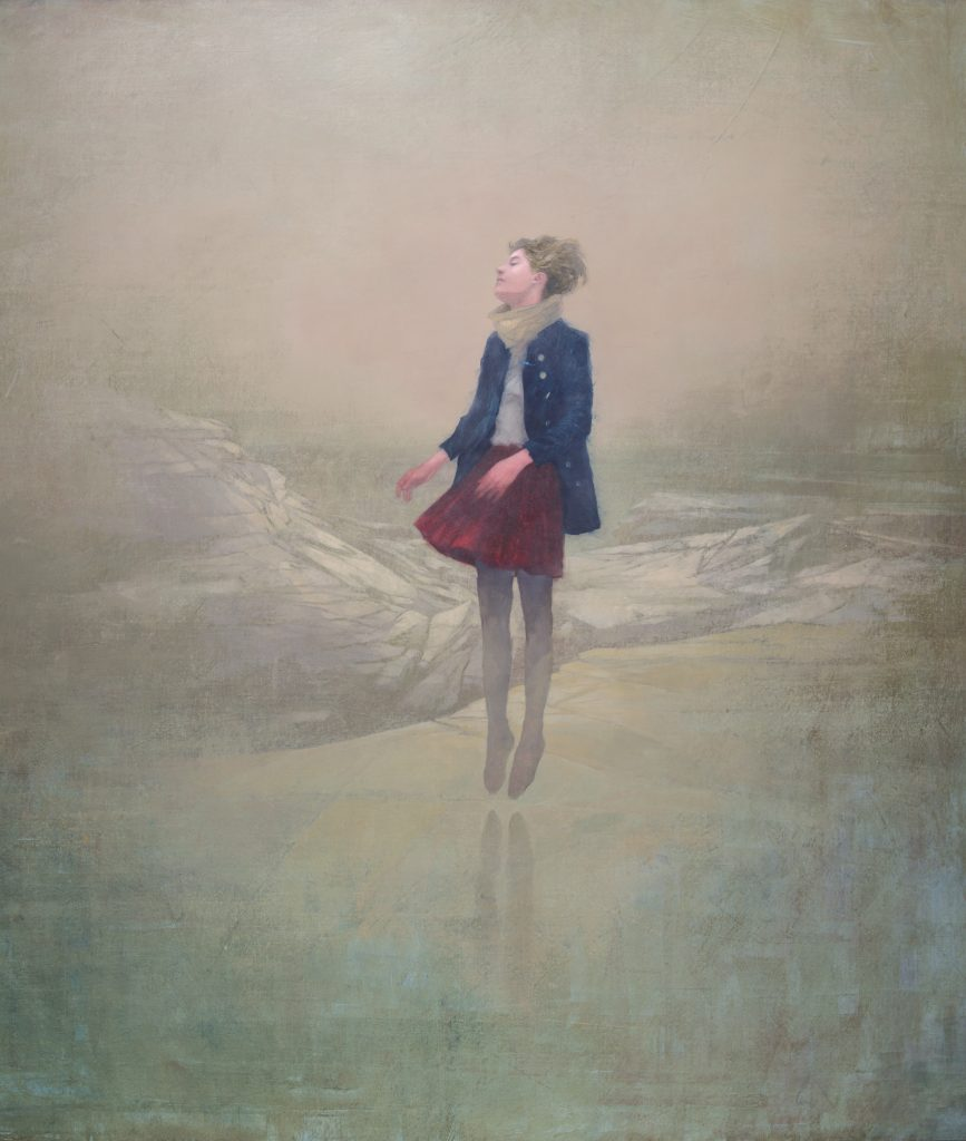 Acrylic on canvas painting of a young lady in a red skirt and blue coat floating above a distant, barren landscape by Federico Infante titled The Desert.