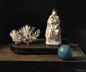 Oil on canvas still life painting of white coral, a Madonna and child figurine, and blue sphere by Marc Chalmé titled Still Life II.