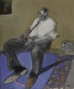 Mixed media painting of a seated gentleman inspecting the sole of his shoe where he has stepped in bubblegum and tracked it on the rug by François Anton titled Chewing Gum Sur un Tapis d'Orient.