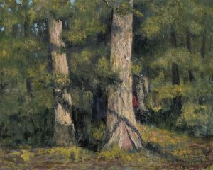 "Oil on canvas painting of a sunny forest with a small figure in a red, hooded cloak by Albert Hadjiganev titled ""Le Petit Chaperon Rouge."""