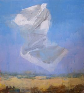 Oil on canvas painting of a floating white object—a crumpled paper? a swath of fabric?—above a neutral landscape and blue sky by Joseph Adolphe titled A Message no 6.