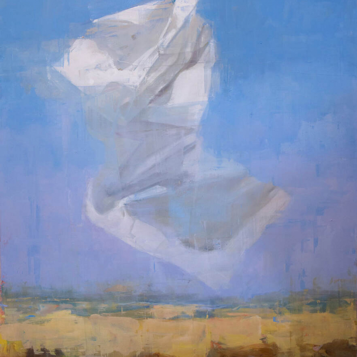 """Oil on canvas painting of a floating white object—a crumpled paper? a swath of fabric?—above a neutral landscape and blue sky by Joseph Adolphe titled """"A Message no 6."""""""