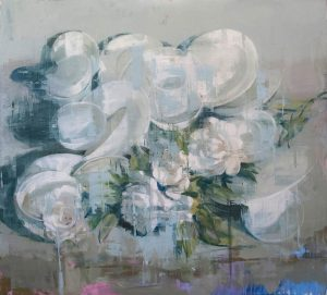 Oil on canvas painting of a collection of white plates and white roses against a neutral background with splashes of pink and blue by Joseph Adolphe titled Anniversary no 9.
