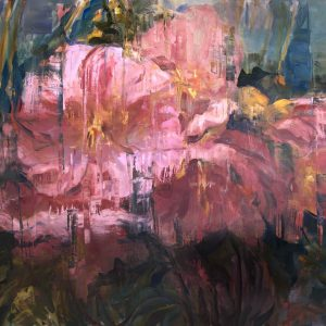 Giclée print of bursting pink blooms against a dark background by Joseph Adolphe titled Early Spring.
