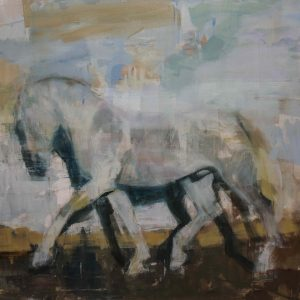 Giclée print of a trotting, pale horse against a pale background by Joseph Adolphe titled Equus no 12.