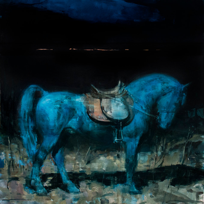 """Oil on canvas painting of a large, bridled blue horse against a dark background by Joseph Adolphe titled """"Equus no 15."""""""