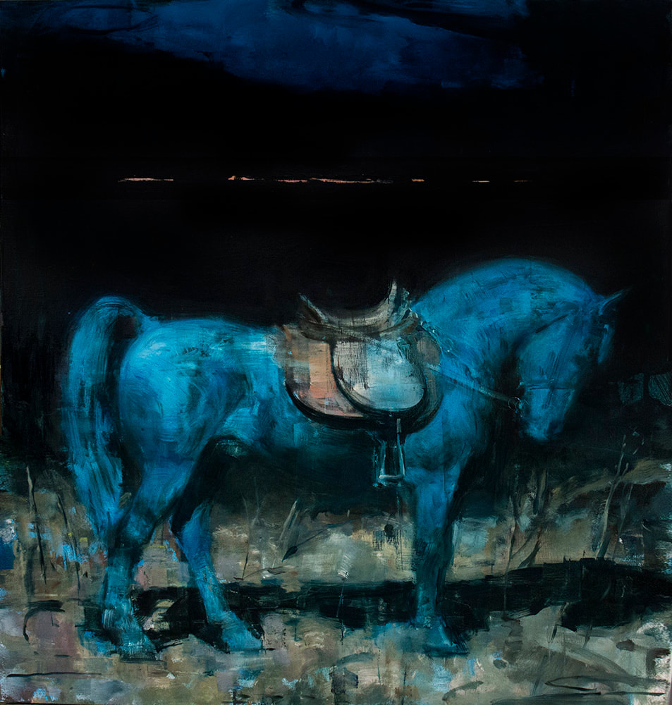 Oil on canvas painting of a large, bridled blue horse against a dark background by Joseph Adolphe titled Equus no 15.