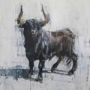 Giclée print of a black bull, horns raised and facing the viewer, against a pale background by Joseph Adolphe titled Last Stand 2.