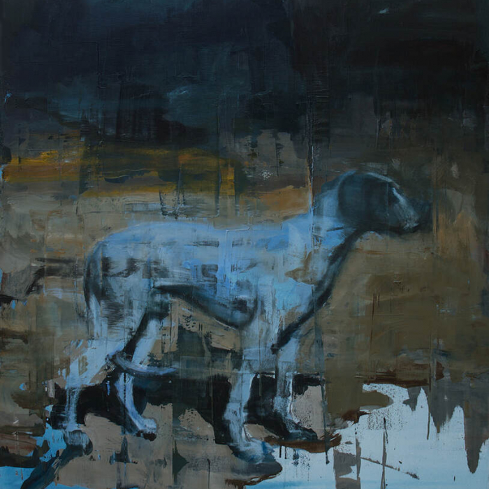 Oil on canvas painting of a blue dog standing above what may be a puddle and against a dark background by Joseph Adolphe titled The Entrance.