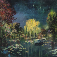 Acrylic, marble powder, and pure pigment on canvas painting of Monet's Giverny garden at night by Eric Roux-Fontaine titled L'Étang II.
