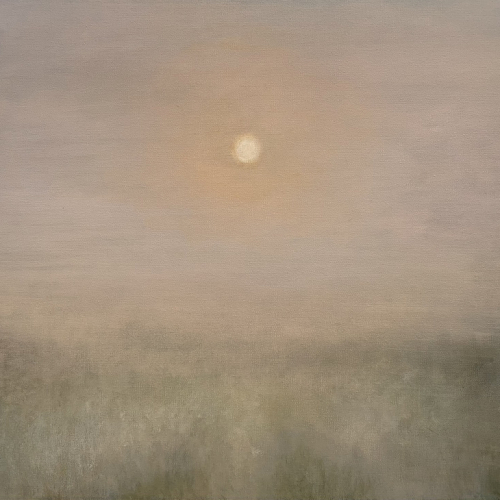 Oil on canvas painting of the bright sun risen in a hazy sky above a foggy field by Louise Laffaille titled Hope.