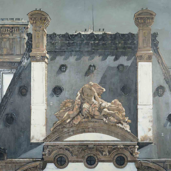Oil on canvas painting of a rooftop portion of the Louvre in Paris by Patrick Pietropoli titled Four Chimneys.