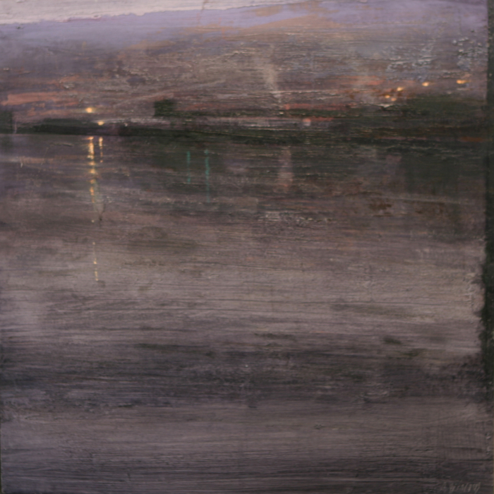 Oil on wood painting of an industrial, urban waterfront with lights glowing in the distance under a grey violet sky by Alejandro Quincoces titled Luces Solitarias.