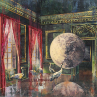 Acrylic, marble powder, and pure pigment on canvas painting of the full moon and a flock of cranes inside the Palace of Versailles by Eric Roux-Fontaine titled Nouvelle Lune.