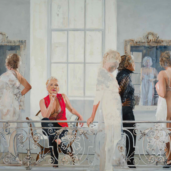 """Oil on canvas painting of the same woman appearing five times in varying states of dress and undress, sometimes looking in an ornate gilt mirror, all behind an detailed metal railing within a French interior by Patrick Pietropoli titled """"Fashion Show."""""""