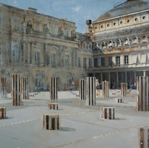"""Oil on canvas painting of the Palais Royal on a sunny day with black and white striped cylinder sculptures in its foreground plaza by Patrick Pietropoli titled """"Palais Royal."""""""