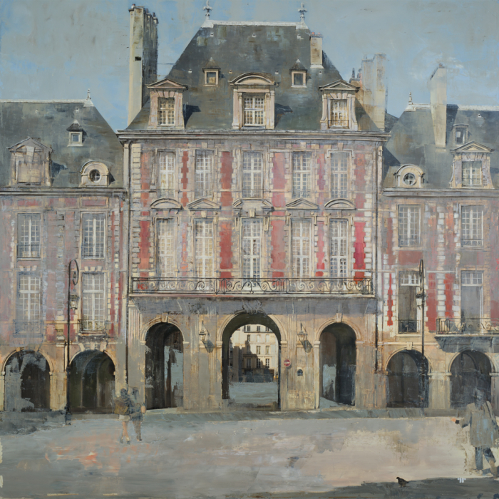 """Oil on canvas painting of the Place des Vosges on a sunny day with red bricks and windows gleaming by Patrick Pietropoli titled """"Place des Vosges."""""""