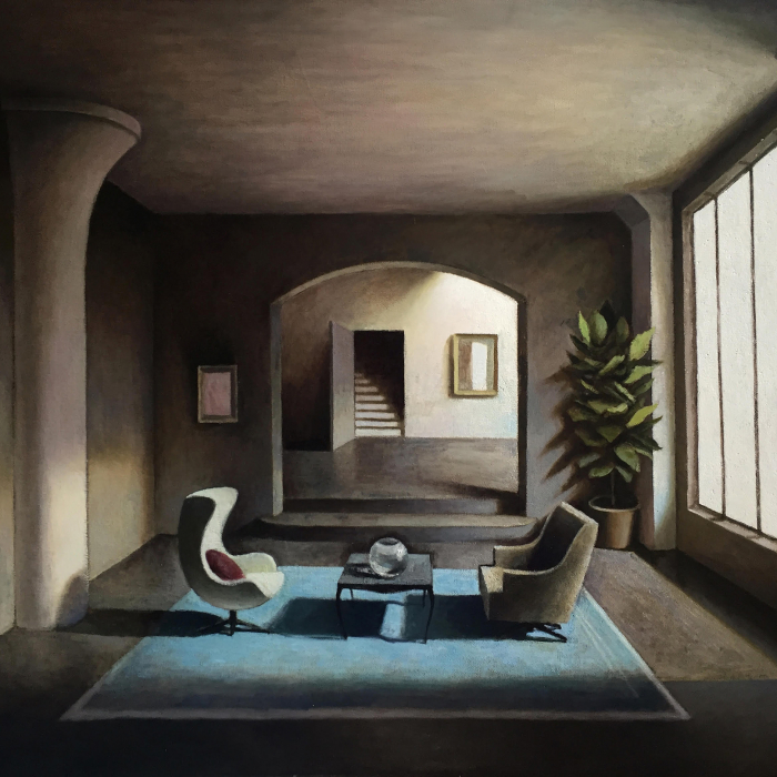 Oil on canvas painting of a mysterious room where a blue rug, coffee table, and two chairs facing each other are lit by a large window by Marc Chalmé titled Le Tapis Bleu.