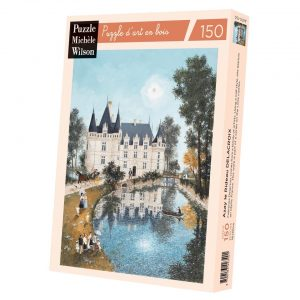 """Jigsaw puzzle of Hugo Galerie artist Fabienne Delacroix's work """"Azay le Rideau"""" depicting a belle epoque French country scene outside the famous Loire castle on a sunny day."""