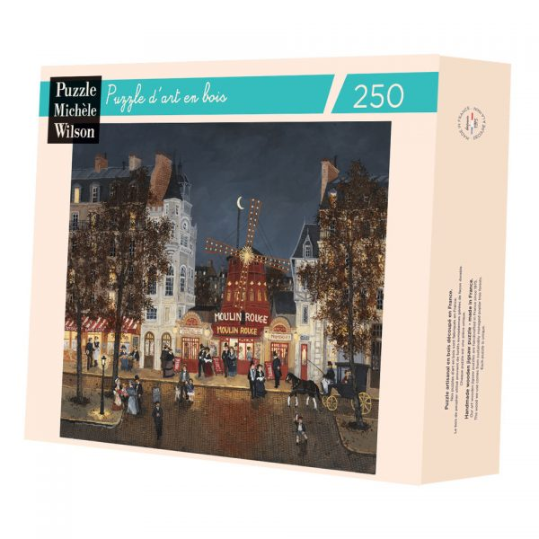 """Jigsaw puzzle of Hugo Galerie artist Fabienne Delacroix's work """"Le Moulin Rouge"""" depicting a belle epoque Parisian street scene outside the famous theater at night."""
