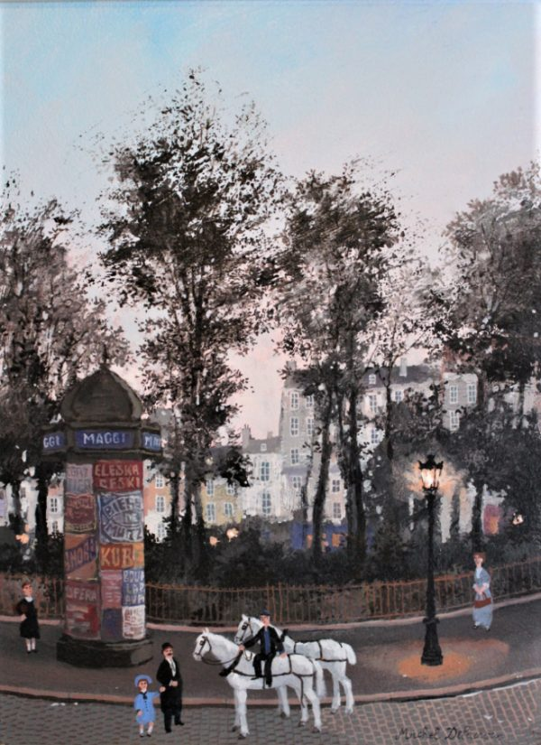 """Acrylic on board painting of a Parisian street scene from the past at dusk with carriage horses, strolling pedestrians, park trees in silhouette, and row houses by Michel Delacroix titled """"Le Repos de Cheveaux."""""""